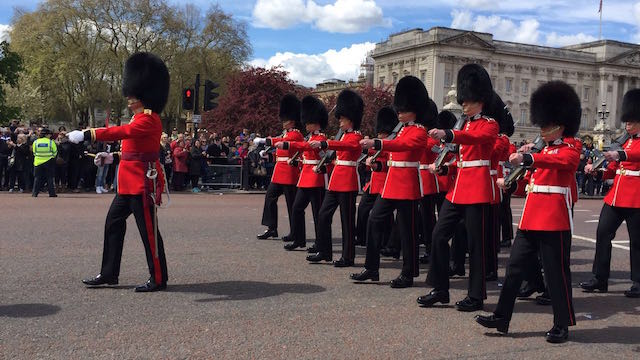 Changing of the guard ceremony at Buckingham Palace, London