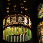 Tiffany glass chandelier in Willard Memorial Chapel, Auburn