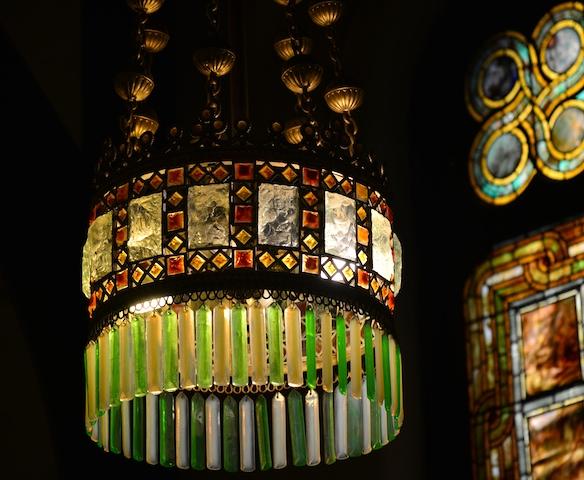 Tiffany glass chandelier in Willard Memorial Chapel, Auburn